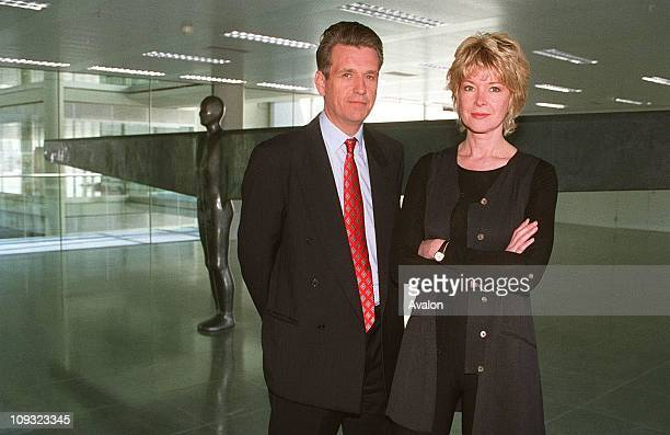 NewscastersJulia Somerville and Nicholas Owen at the Air & Angels Sculpture Exhibition ITN Building, Gray's Inn Road, London.