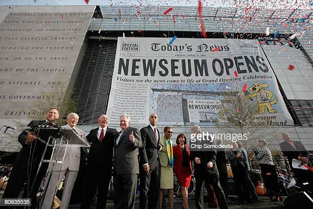 Newseum officials Chairman Alberto Ibarguen, founder Al Neuharth, CEO Charles Overby and President Peter Prichard are joined by District of Columbia...