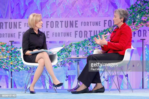 NewsHour Anchor and Managing Editor Judy Woodruff and 24th Secretary US Air Force Dr Heather Wilson speak onstage at the Fortune Most Powerful Women...