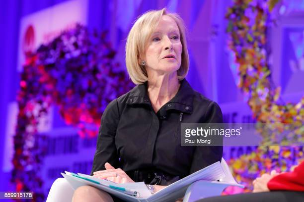NewsHour Anchor and Managing Editor Judy Woodruff speaks onstage at the Fortune Most Powerful Women Summit Day 2 on October 10 2017 in Washington DC