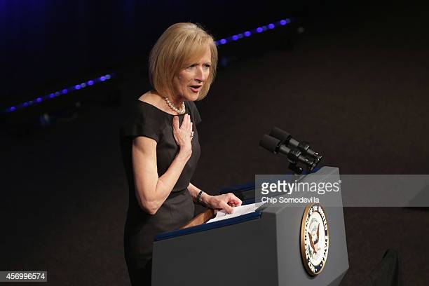 NewsHour CoAnchor Judy Woodruff delivers remarks during the memorial ceremony for former White House Press Secretary James Brady at the Newseum...