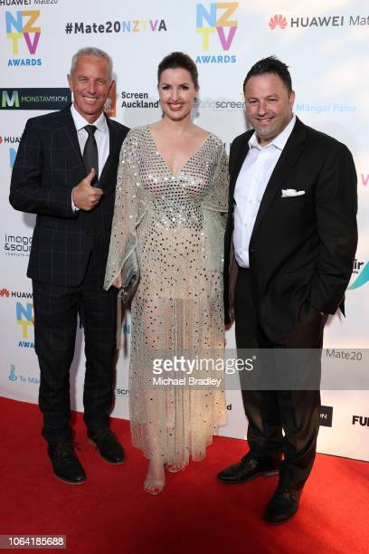 Newshub AM Show's Amanda Gillies Duncan Garner and Mark Richardson arrive at the 2018 Huawei Mate20 New Zealand Television Awards at the Civic...