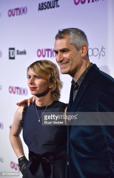 Newsmaker of the Year Chelsea Manning and OUT Magazine EditorinChief Aaron Hicklin attend OUT Magazine #OUT100 Event presented by Lexus at the the...