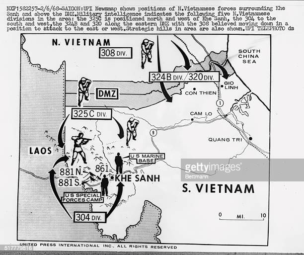 Newsman shows position of North Vietnamese forces surrounding Khe Sanh and above the DMZ Military intelligence indicates the following five North...