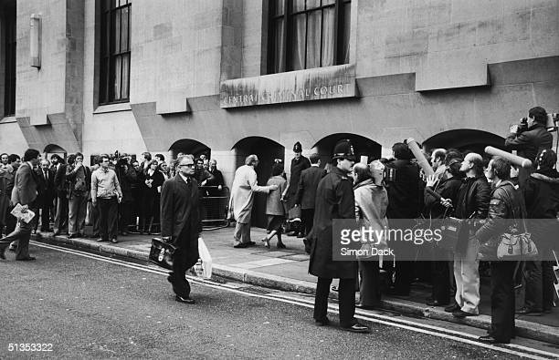 Newsmen gather outside the Central Criminal Court in London, for the opening of the the murder trial of Peter Sutcliffe, aka 'The Yorkshire Ripper',...