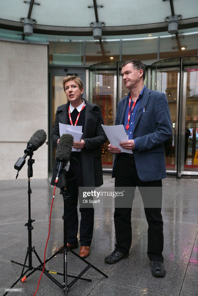 Newsnight journalists Meirion Jones and Liz Mackean (L) deliver a statement to the media outside BBC Broadcasting House on December 19, 2012 in London, England. The BBC Trust have announced the findings of the Pollard Review into the corporation's handling of sexual abuse allegations against former employee Jimmy Savile.