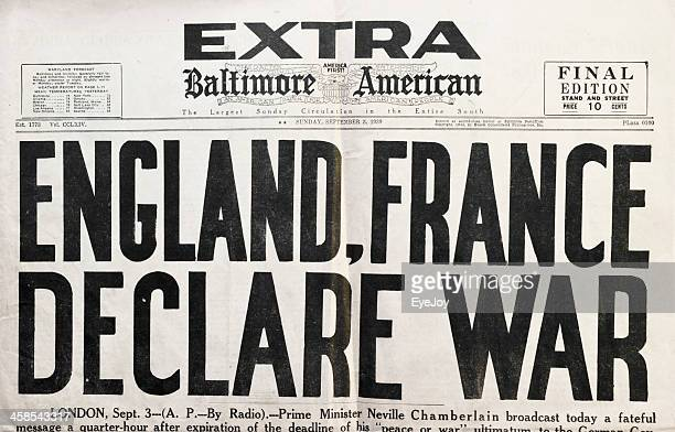 newspaper 1939 headlines declaring beginning of wwii - world war ii stock pictures, royalty-free photos & images