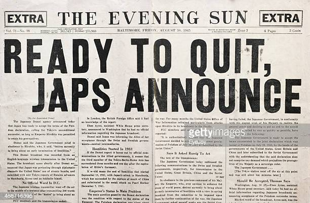 Newspaper 1945 Headline Declaring End of WWII