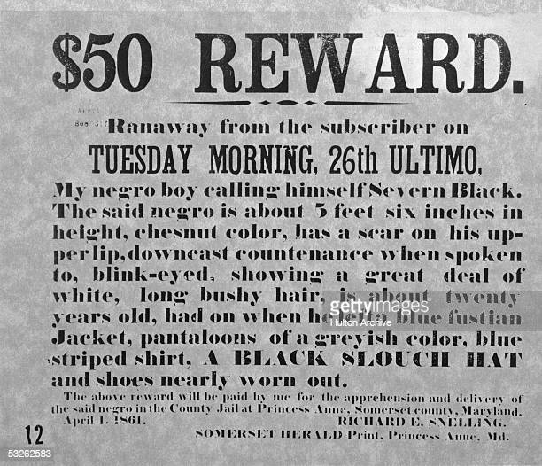 Newspaper advertisement offering reward for the return of an escaped slave to his oppressors Princess Anne Maryland April 1 1861 Text reads $50...