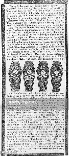 A newspaper article describing the Boston Massacre in March 1770 and the funeral services for the victims