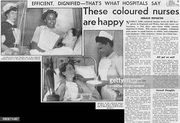 Newspaper article featuring coloured nurses of the National Health Service Dated 1955