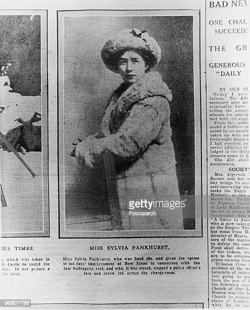 Newspaper article on Miss Sylvia Pankhurst with caption 'Miss Sylvia Pankhurst who was fined 40s and given the option of ten days' imprisonment at...