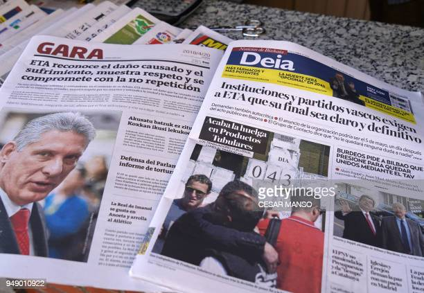 Newspaper at a newsstand in Portugalete display on the cover a statement by Basque separatist group ETA on April 20 2018 The Basque separatist group...