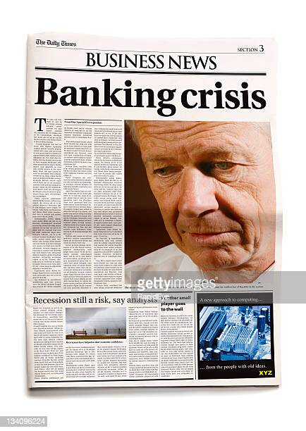 newspaper: banking crisis - front page stock photos and pictures