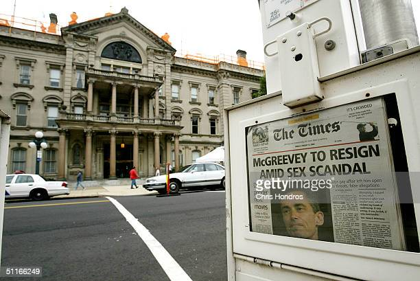 A newspaper box announcing the resignation of NJ Gov Jim McGreevey stands in front of the NJ State House August 13 2004 in New York City McGreevey...