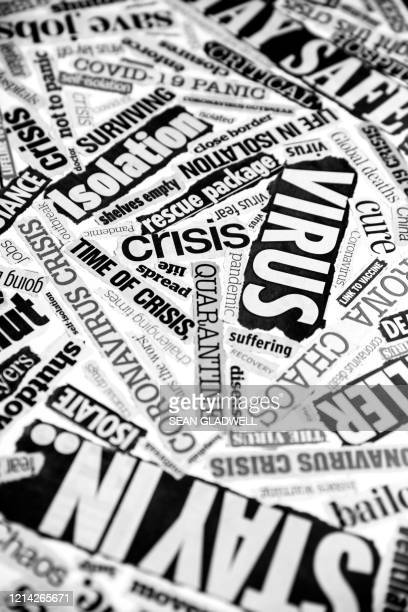 newspaper clippings of coronavirus - government shutdown stock pictures, royalty-free photos & images
