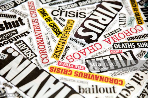 newspaper clippings of covid-19 - government shutdown stock pictures, royalty-free photos & images