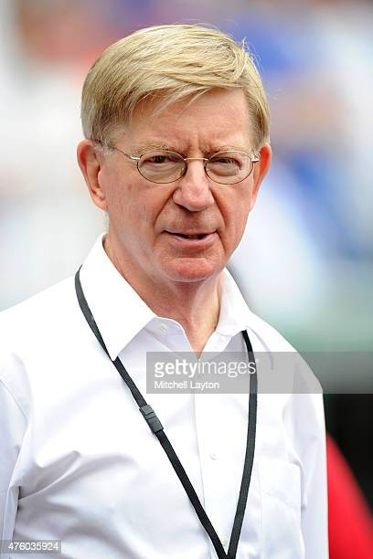 Newspaper columnist, journalist, and author George Will looks on before a baseball game between the Chicago Cubs and the Washington Nationals at...