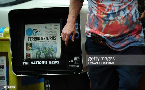 A newspaper featuring a photo from the Boston Marathon bombings is seen in New York April 2013 The city went on high alert a day after two explosions...