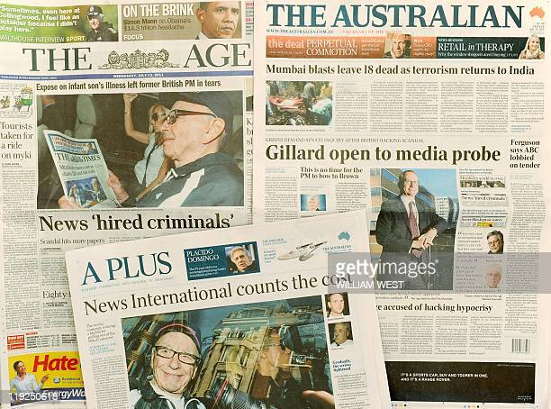 Newspaper front pages shows Australian coverage of the embattled News Corp phonehacking scandal in Melbourne on July 15 2011 The Australianlisted...