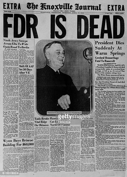 Newspaper Headline Announcing FDR's Death