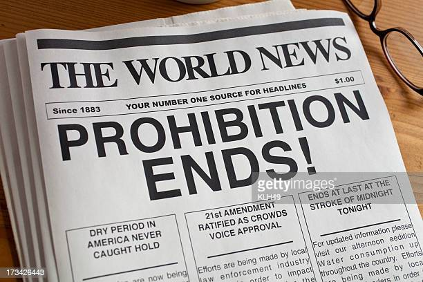 newspaper headline: prohibition ends - roaring 20s stock photos and pictures