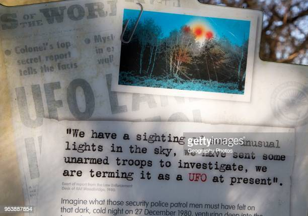 Newspaper headline reports on notice sign at Rendlesham UFO trail Rendlesham forest Suffolk England UK