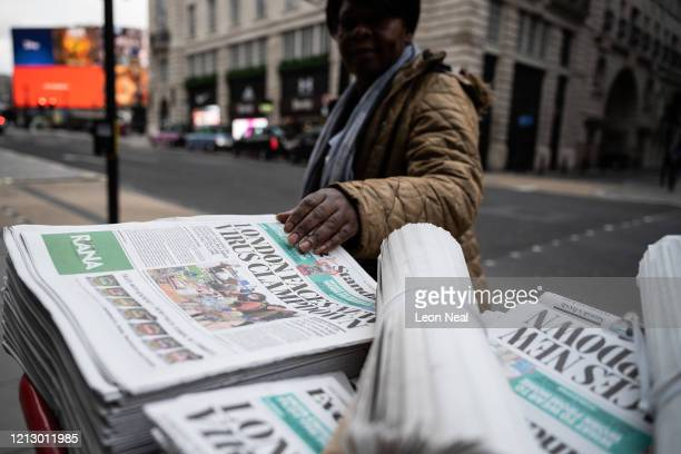 Newspaper headline warns of the potential of further measures to attempt to fight the Covid-19 coronavirus pandemic on March 17, 2020 in London,...
