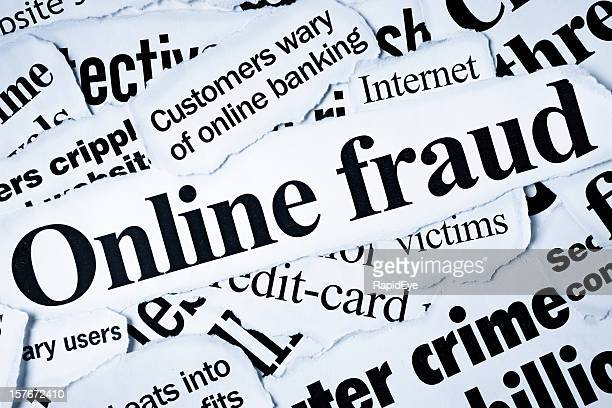 Newspaper headlines dealing with online fraud & computer crime