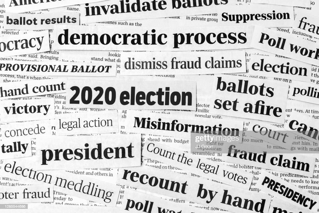 Newspaper headlines of 2020 United States of America presidential election. Concept of misinformation, voter and ballot fraud claims and the democratic process : Stock Photo
