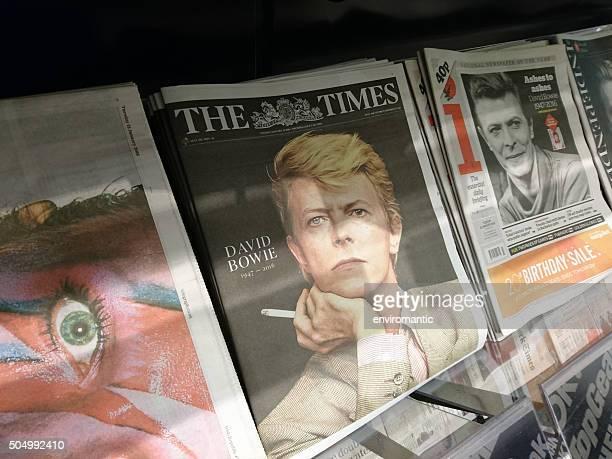 Newspaper headlines of David Bowie's death.
