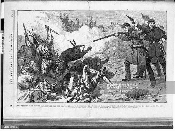 A newspaper illustration depicting the Cheyennes' last desperate attempt at resisting the United States troops under Captain Wessells in a ravine...