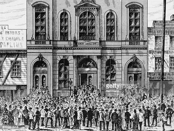 Newspaper illustration depicting the run on the Bowery Savings Bank during the Wall Street panic of 1873 BPA2