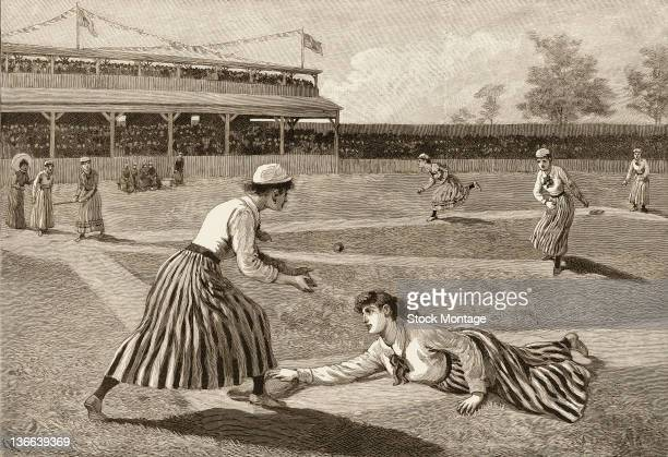 A newspaper illustration entitled 'A Ladies' Baseball Match' depicts two unidentified teams of women as they play baseball in a stadium late 19th...