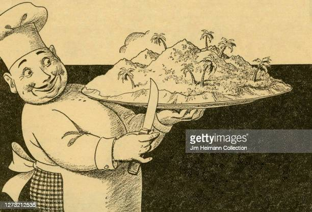 A newspaper illustration for Avalon shows a rotund chef holding Catalina Island on a platter circa 1937