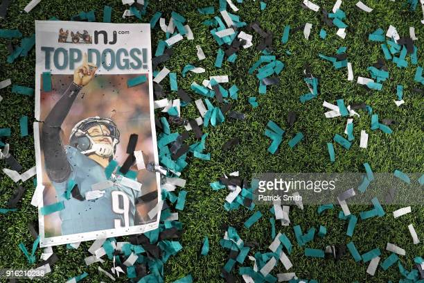 A newspaper is seen after the Philadelphia Eagles defeated the New England Patriots in Super Bowl LII at US Bank Stadium on February 4 2018 in...