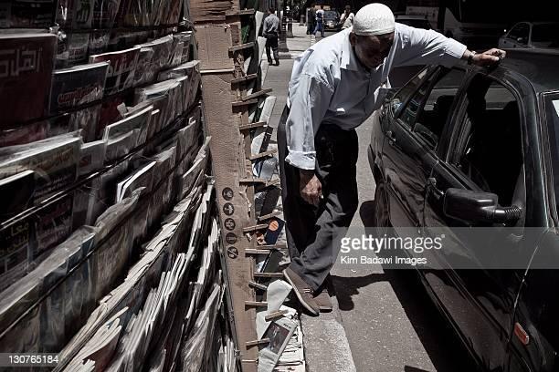 Newspaper kiosks in Zamalek on May 17 2011 in Cairo Egypt