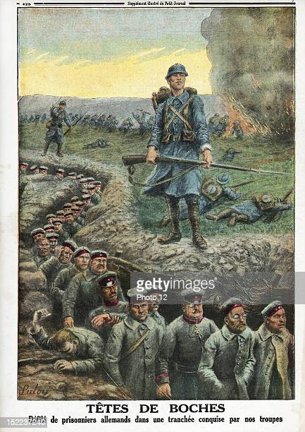 Newspaper of Sunday 5th March 1916 N°1315 Procession of german prisoners in the trenches captured by our troops