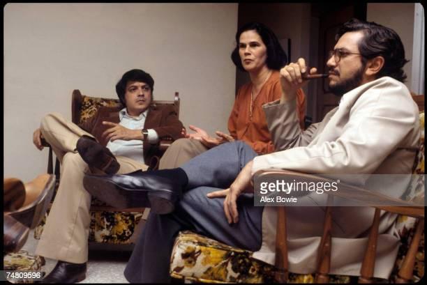 Newspaper publisher Violeta Barrios de Chamorro with Sergio Ramirez Mercado and Luis Alfonso Robelo Callejas at her home in San Jose Costa Rica...