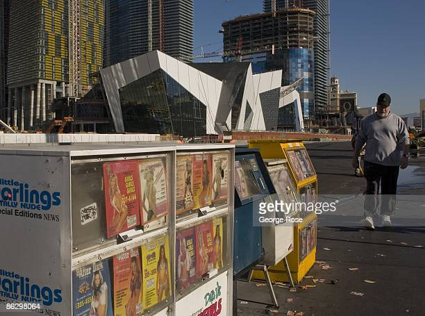 Newspaper racks on the Las Vegas Strip featuring Hot Babes escort services are seen in this 2009 Las Vegas Nevada early morning exterior photo