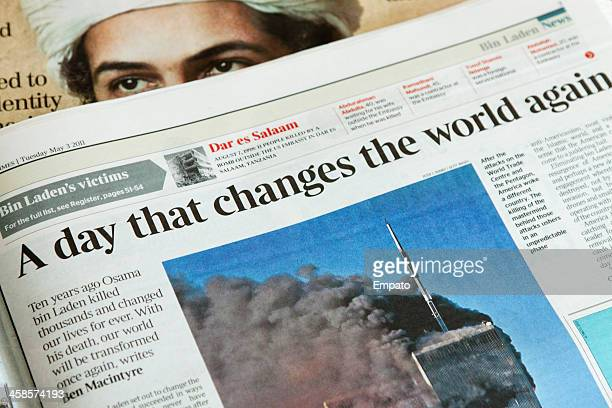 newspaper reports on the day osama bin laden died. - on this day september 11 attacks stock pictures, royalty-free photos & images