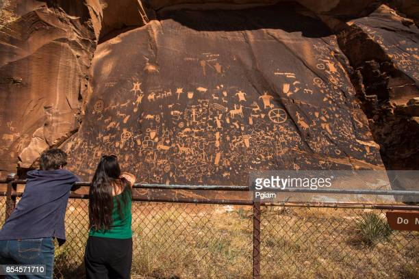 Newspaper rock ancient petroglyphs in Utah