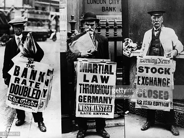 Newspaper sellers advertise their ware with headlines about the stock exchange and martial law in Germany just prior to World War I