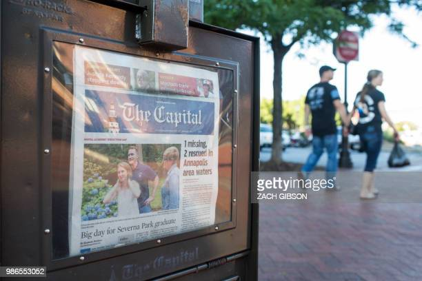 A newspaper stand selling the Capital Gazette is pictured in Annapolis Maryland on June 28 2018 At least five people were killed Thursday when a...