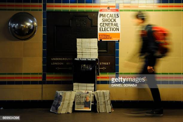 Newspaper stand shows a copy of today's Evening Standard, with the front page story relating to British Prime Minister Theresa May's call for a snap...