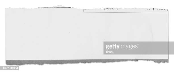 Newspaper tear on white w/ clipping path