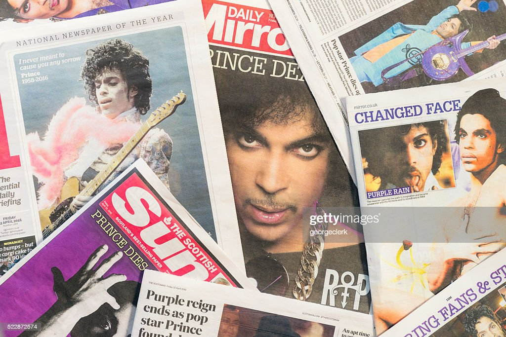 Newspaper tributes to Prince following his passing : Stock Photo