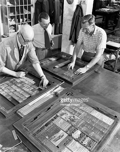 Newspaper typesetting Mexborough South Yorkshire 1959 Typesetters from the South Yorkshire Times composing pages for the newspaper Wooden or metel...