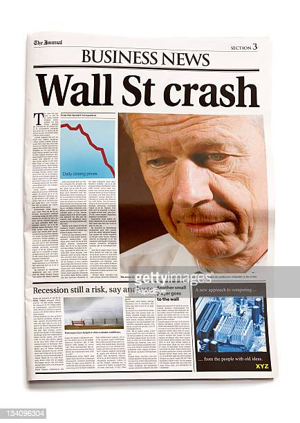 tageszeitung: wall street crash - crash photos stock-fotos und bilder