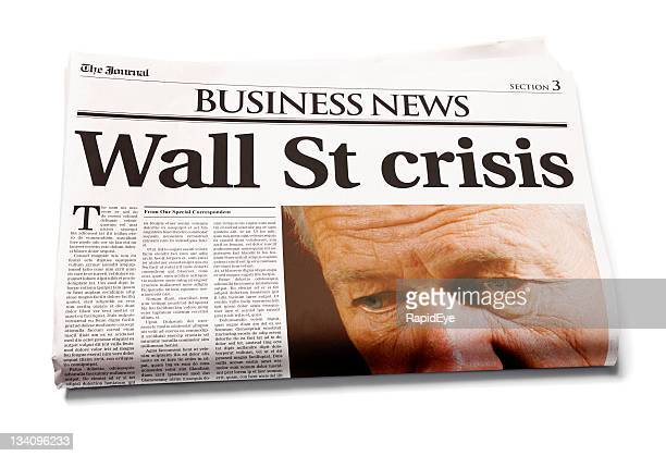 tageszeitung: wall st krise - crash photos stock-fotos und bilder